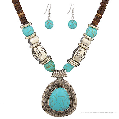 Women's Jewelry Set Drop Earrings Pendant Necklaces Turquoise Basic Unique Design Dangling Style Pendant Natural Bohemian Personalized