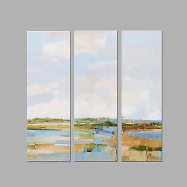 Pintura a Óleo Pintados à mão - Abstrato Artistíco Abstracto Tela de pintura 3 Painéis