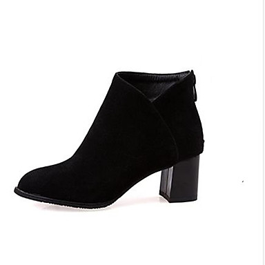Women's Shoes PU Winter Fall Comfort Heels Chunky Heel Round Toe for Casual Black Gray Almond