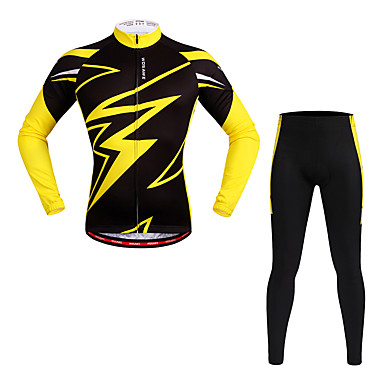 WOSAWE Long Sleeves Cycling Jersey with Tights - Yellow Bike Clothing Suits, Quick Dry, Reflective Strips