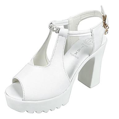 Naisten Kengät PU Kesä Comfort Sandaalit Kävely Paksu korko Pyöreä kärkinen Tekojalokivi varten Rento/arki Valkoinen Musta