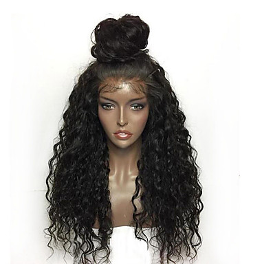 cheap Synthetic Lace Wigs-Synthetic Lace Front Wig Kinky Curly / Deep Curly Style Layered Haircut Lace Front Wig Black Red Pink Natural Black Synthetic Hair Women's with Baby Hair / Heat Resistant / Natural Hairline Black Wig