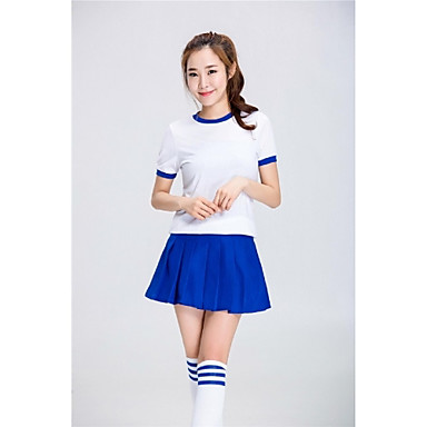 Cheerleader Costumes Outfits Women's Performance Polyester Pleated 2 Pieces Short Sleeve High Skirts Tops