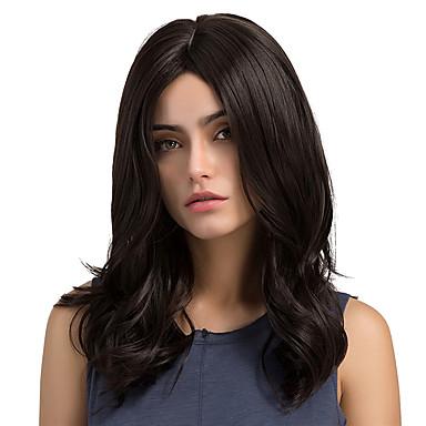 Cabelo Sintético perucas Ondulado Natural Sem Touca Peruca Natural Longo Preta