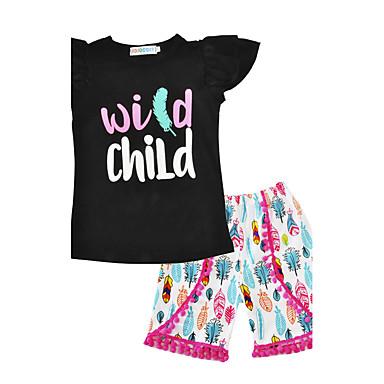 Toddler Girls' Print Short Sleeve Regular Regular Cotton Clothing Set Black
