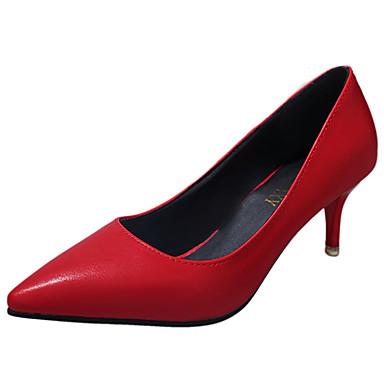 Mulheres Sapatos Couro Ecológico Verão Solados com Luzes Conforto Saltos Salto Sabrina Dedo Apontado para Social Branco Preto Vermelho