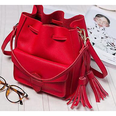 Women Shoulder Bag Cowhide All Seasons Casual Outdoor Barrel Drawstring Blue Black Red