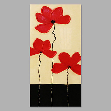 Hand-Painted Floral/Botanical Vertical, Artistic Canvas Oil Painting Home Decoration One Panel