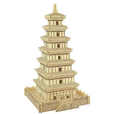 Quebra-Cabeças 3D Quebra-Cabeça Brinquedos de Montar Torre Construções Famosas Casa Simulação De madeira Madeira Natural Homens Unisexo Brinquedos Dom