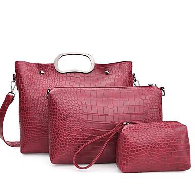 Women's Bags PU(Polyurethane) Shoulder Bag 3 Pcs Purse Set Black / Red / Brown