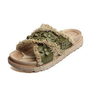 Naiset Sandaalit Comfort Muoti PU Kevät Kesä Päivittäin Puku Comfort Muoti Röyhelöity Kukkakuvio Tasapohja Armeijan vihreä Khaki 1-1,75in