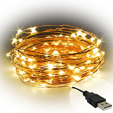 10m String Lights 100 LEDs Warm White / White / Red <5 V / IP65