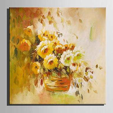 Pintados à mão Floral/Botânico Quadrada, Retro Tela de pintura Pintura a Óleo Decoração para casa 1 Painel