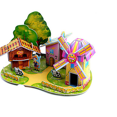 3D Puzzle Jigsaw Puzzle Windmill Plane / Aircraft Windmill Famous buildings House DIY Hard Card Paper Classic Anime Cartoon Kid's Unisex