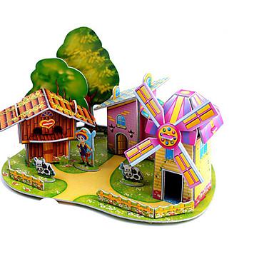 3D építőjátékok Fejtörő Szélmalom Repülőgép Szélmalom Népszerű épület Ház DIY Kartonpapír Klasszikus Anime Rajzfilmfigura Gyermek Uniszex