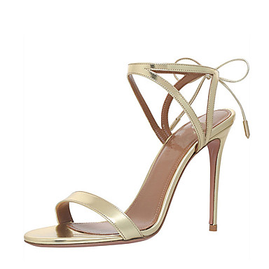 Women's Shoes Leatherette Summer D'Orsay & Two-Piece Sandals Stiletto Heel Open Toe Lace-up / Hollow-out Gold / Silver / Wedding