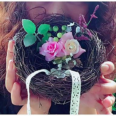 Renda Flor Vime Almofada Anél Tema Jardim Tema Flores Tema Fadas Tema rústico Tema vintage