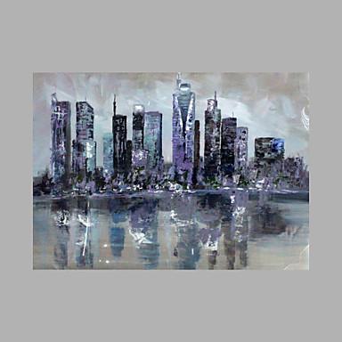 Pintura a Óleo Pintados à mão - Abstrato Estilo Praia Tela de pintura