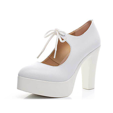 Women's Shoes Synthetic Microfiber PU Spring Fall Formal Shoes Heels Chunky Heel Pointed Toe Lace-up for Wedding Office & Career White