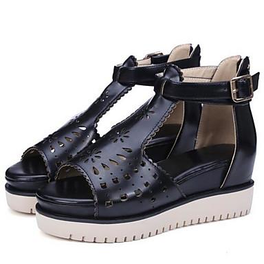 Naiset Kengät PU Kesä Comfort Sandaalit varten Kausaliteetti Musta Beesi Pinkki