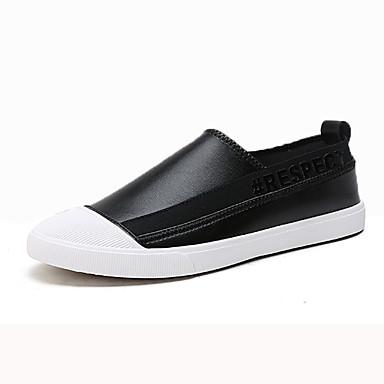 Homens sapatos Couro Ecológico Primavera Outono Solados com Luzes Mocassins e Slip-Ons para Casual Branco Preto