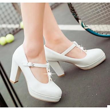 Damen Schuhe Nubukleder PU Frühling Herbst Komfort High Heels Für Normal Weiß Beige Rosa