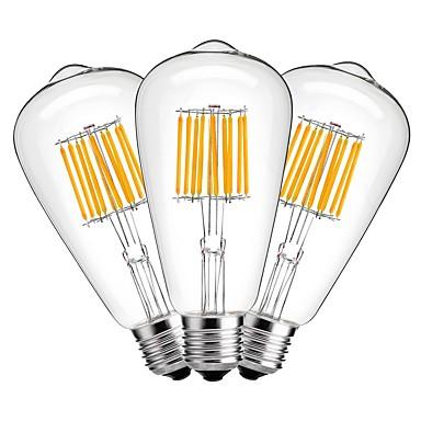 3pçs 10W 1000 lm E27 Lâmpadas de Filamento de LED ST64 10 leds COB Decorativa Branco Quente AC 220-240V
