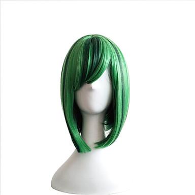 Szintetikus parókák Egyenes Bob frizura / Aszimmetrikus frizura Szintetikus haj Természetes hajszálvonal Fekete / Zöld Paróka Női Közepes hosszúságú Sapka nélküli Zöld