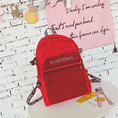 Women Backpack Oxford Cloth All Seasons Casual Round Zipper Black Red Blushing Pink Gray