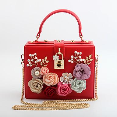 d4224023fe Γυναικεία Τσάντες PU Βραδινή τσάντα Διακοσμητικά Επιράμματα   Λουλούδι  Ανθισμένο Ροζ   Βυσσινί   Αμύγδαλο