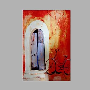 Pintura a Óleo Pintados à mão - Abstrato Estilo Praia Tela de pintura / Lona esticada