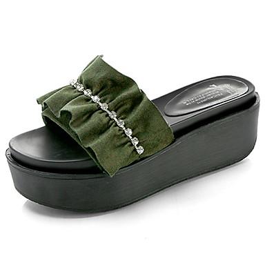 Mulheres Sapatos Borracha Verão Conforto Sandálias Caminhada Creepers para Ao ar livre Preto Verde Camel