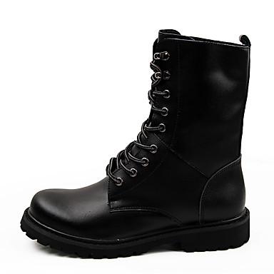 Herre sko Lær Vinter Høst Komfort Kampstøvler Støvler Snøring til Avslappet Svart Brun