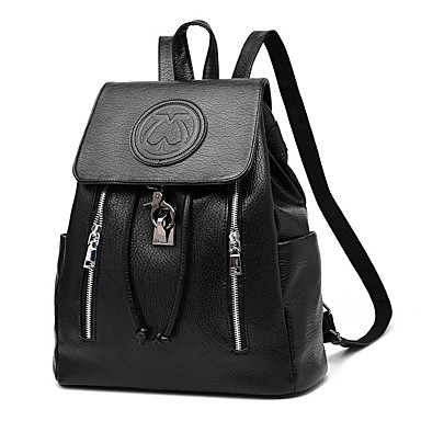 Women's Bags PU Backpack for Casual Outdoor All Seasons White Black Blushing Pink Fuchsia Wine