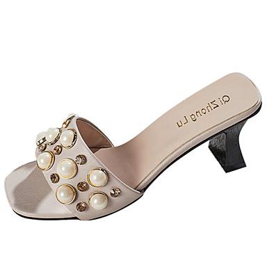 Mulheres Sapatos Borracha Verão Conforto Sandálias Caminhada Salto Baixo Preto / Bege