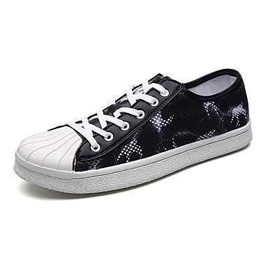 Homens sapatos Tule Primavera Outono Solados com Luzes Conforto Tênis Cadarço para Casual Branco Preto