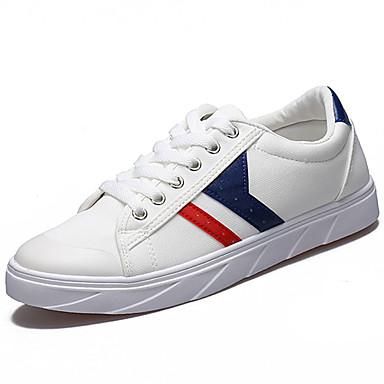 Homens sapatos Couro Ecológico Primavera Verão Conforto Tênis para Casual Branco Preto Azul