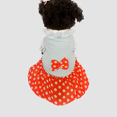Cachorro Vestidos Roupas para Cães Respirável Casual Poá Amarelo Vermelho Ocasiões Especiais Para animais de estimação