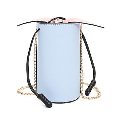 Kvinder Skulderveske PU Alle årstider Avslappet Sylinderveske Magnet Blå Hvit Svart Rosa