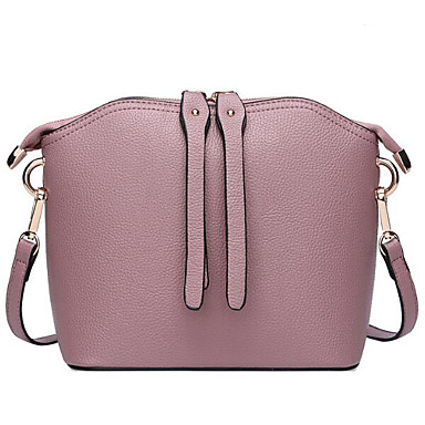Women Shoulder Bag Cowhide All Seasons Casual Outdoor Shell Zipper Light Purple Wine