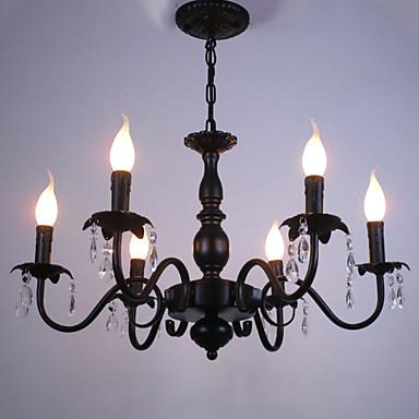 6-luz Lustres Luz Ambiente Preto Metal Cristal, Estilo Vela 110-120V / 220-240V Lâmpada Não Incluída / E12 / E14