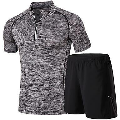 Herre T-skjorte og shorts til jogging Kortermet Løp Klessett til Løper Trening & Fitness Svart+Grå