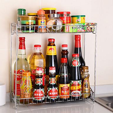 1pç Racks de especiarias Aço Inoxidável Fácil Uso Organização de cozinha