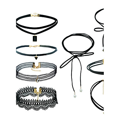 Women's Geometric Jewelry Set - Dangling Style, Simple Style, Euramerican Include Pendant Necklace / Black Choker Black For Outdoor clothing / Street / Traveling