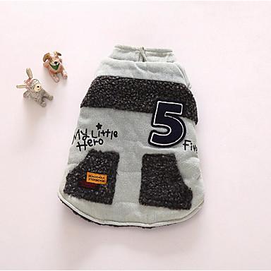 Cachorro Colete Roupas para Cães Carta e Número Azul Escuro / Cinzento Algodão Ocasiões Especiais Para animais de estimação Homens / Mulheres Casual