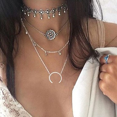 Women's Geometric Layered Necklace - Flower Bikini, Fashion, Euramerican Silver Necklace For Party