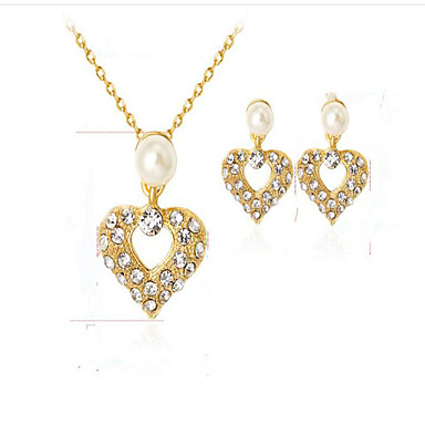 Mulheres Sets nupcial Jóias Diamante sintético Imitação de Pérola Chapeado Dourado Liga Coração Euramerican Fashion Festa Festa/Eventos