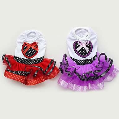 Dog Dress Dog Clothes Princess Purple Red Chiffon Cotton Costume For Pets Summer Men's Women's Casual / Daily