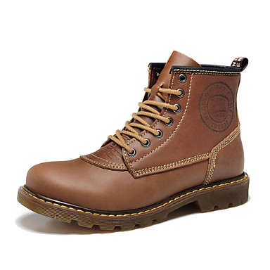 Unisex Boots Combat Boots Fall Winter Nappa Leather Hiking Shoes Athletic Casual Outdoor Light Brown 1in-1 3/4in