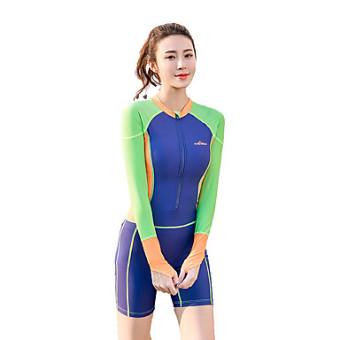 Large Piece Of Siamese Diving Suits Female Long Cuffs Zipper Quick Dry Snorkeling Suits Sunscreen Surfing Jellyfish Clothes